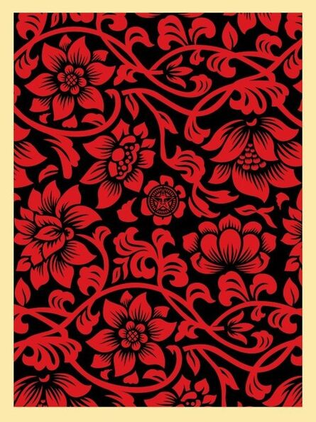Shepard Fairey, 'Floral Takeover (red/black)', 2017