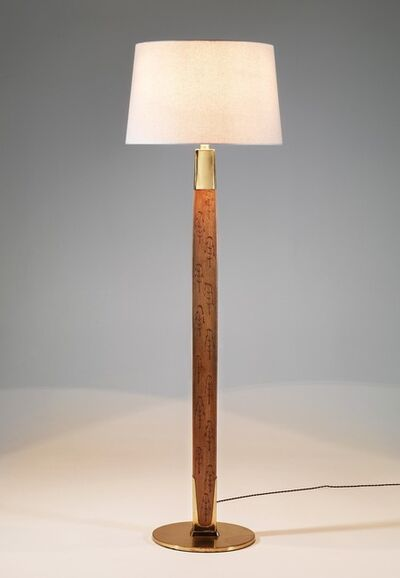 Paavo Tynell, 'Floor lamp in sycamore engraved with stylized pine trees motifs', ca. 1950
