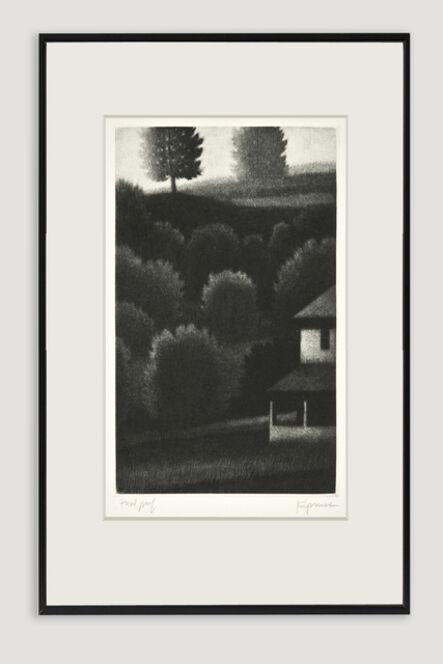 Robert Kipniss, 'Porch and Hillside Mezzotint', 1991