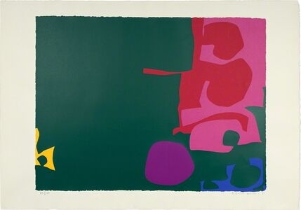 Patrick Heron, 'Interlocking Scarlet And Pink In Deep Green', 1970