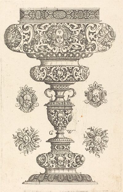 Georg Wechter I, 'Goblet, rim decorated with masque and bouquet of fruit', published 1579