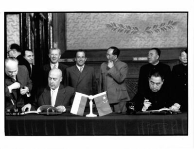 Brian Brake, 'China Premier Chou En Lai signing with Polish Premier Cyrankiewicz, Beijing', 1957