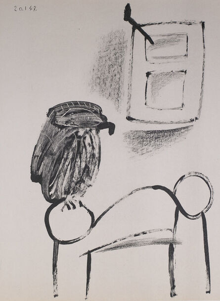 Pablo Picasso, 'Le Hibou Au Fond Blanc (The Owl In White Background), 1949 Limited edition Lithogrph by Pablo Picasso', 1949