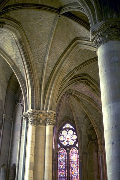 'Reims Cathedral: interior, pillars and vaulting of ambulatory', ca. 1211-1290