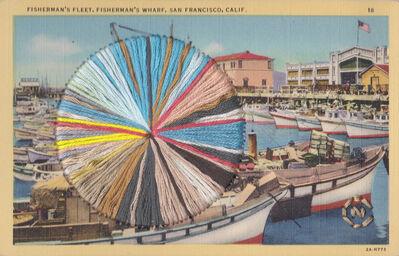 Natalie Ciccoricco, 'Fisherman's Wharf - Embroidery on Vintage Postcard of Iconic San Francisco Landmark and Harbor', 2019