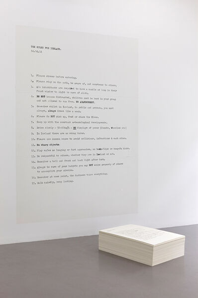 Peter Liversidge, 'Rules for Iceland', 2014