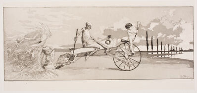 Max Klinger, 'Cupid, Death, and the Beyond (Amor, Tod und Jenseits), plate 12 from Intermezzi (Radierung Opus IV)', 1881