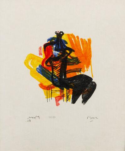 Henry Moore, 'Black Seated Figure on Orange Ground', 1966