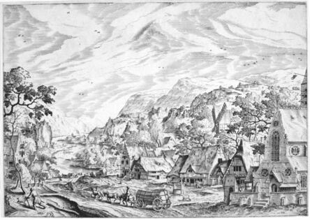 Hans Bol, 'River Scene with Village and Church (1st State)', 1500's