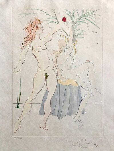 Salvador Dalí, 'Salvador Dali Pochoir Etching Engraving Adam & Eve Japon Paper Gold Embellished', 1970-1979