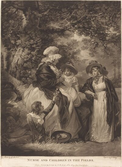 George Keating after George Morland, 'Nurse and Children in the Fields', 1791