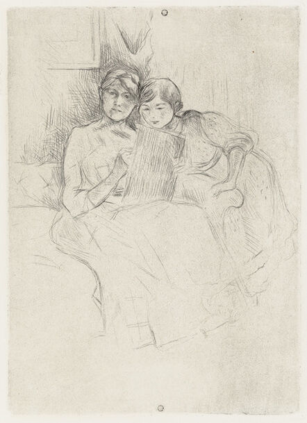Berthe Morisot, 'Berthe Morisot dessinant, avec sa fille', ca. 1889