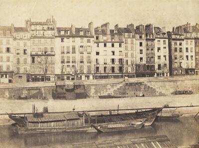 Charles Nègre, 'Boats along Quai, Paris', 1852c/1852c