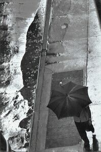 David Vestal, 'Man with Umbrella, Rain Puddle, from Above, 11 West 22nd Street, NYC', 1960