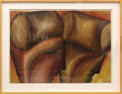 Marco Cingolani, 'Large Modernist Italian Oil Painting Surrealist Abstract Figures', 1980-1989
