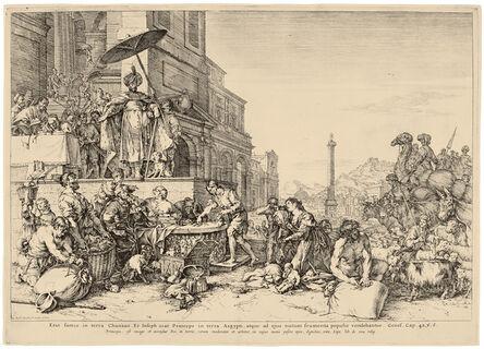 Jan de Bisschop, 'Joseph Distributing Grain in Egypt. After B. Breenbergh', ca. Before 1648?