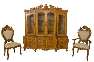 French Provincial/Italian Baroque, 'Carved Wood French Provincial Dining Room Set', 1990's