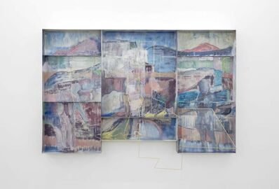 Sara Barker, '3 fabric figures on theHeath changes the sky', 2017