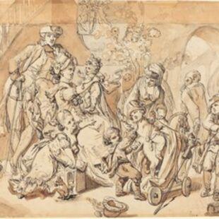 Johann Eleazar Schenau, 'The Happy Family with Children Playing'