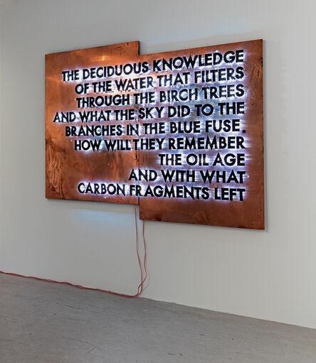 Robert Montgomery, 'The Deciduous Knowledge (Copper Version)', 2016