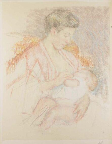 Mary Cassatt, 'Mother Jeanne Nursing Her Child (Profile Left) (No. 3)', ca. 1908