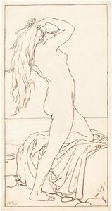 John Dawson Watson, 'Standing Nude Binding Her Hair', 1879