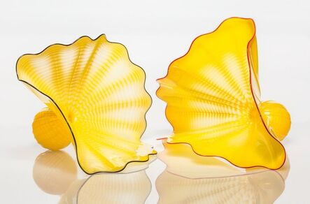 Dale Chihuly, 'Two Buttercup Yellow Persian Forms with Red and Oxblood Lip Wraps', 1997