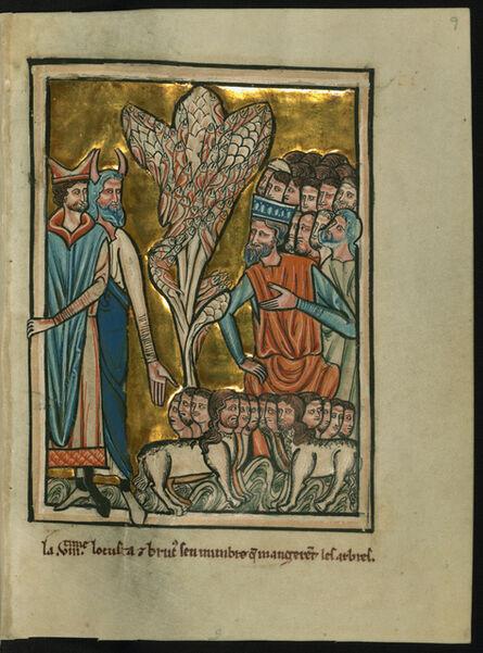 William de Brailes, 'The Eighth Plague: Locusts (Exodus 10:12-15)', ca. 1250