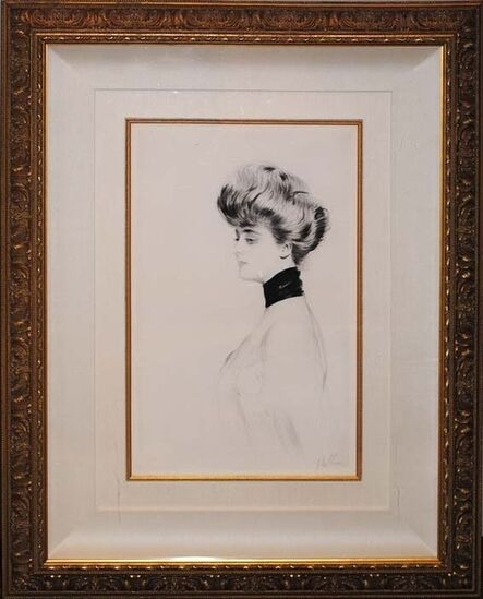 Paul César Helleu, 'Woman with Scarf, Facing Left', ca. 1900