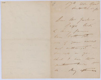 John Singer Sargent, 'Letter to Isabella Stewart Gardner from 17B Eldon Row, South Kensington,', 1886