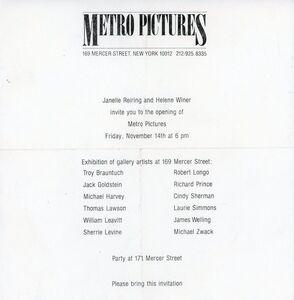 Sherrie Levine, 'Metro Pictures, Inaugural Exhibition, Paper Invitation', 1980