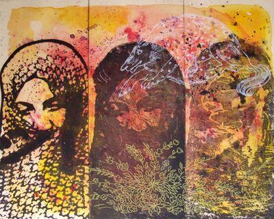 Nahid Hagigat, 'Three Faces with White Animal', 2015