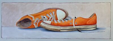 """Santiago Garcia, '""""#1360"""" oil painting of orange low top converse sneakers with white background', 2020"""