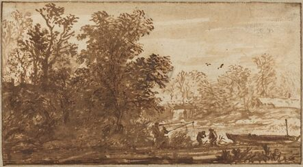 Allart van Everdingen, 'Fisherman in a River Landscape'
