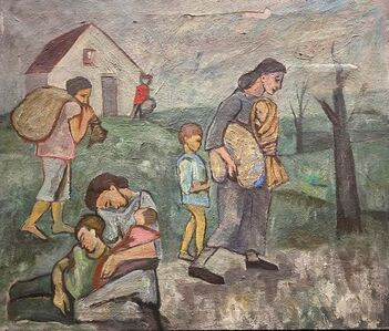 """Michael Loew, '""""Refugees"""" Mexican American Oil Painting Depression Era WPA Mid-Century Modern', 1937"""