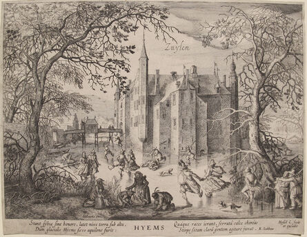 Hendrik Gerritsz Pot, 'Winter Landscape with View of Zuylen Castle (1st State)', ca. 1600