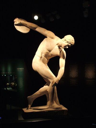 'Discus-thrower (discobolus), Roman copy of Myron's bronze original of the 5th century B.C.'