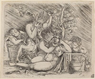 Master of 1515, 'Bacchanalian Scene with Satyrs and a Maenad', ca. 1515