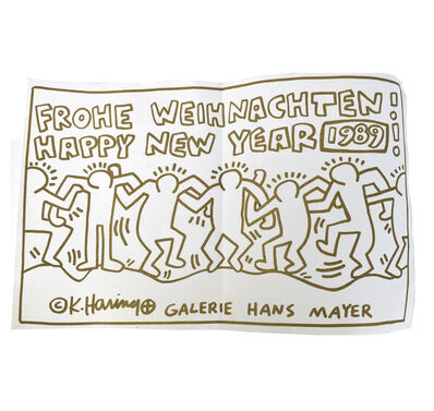"""Keith Haring, '""""FROHE WEIHNACHTEN! HAPPY NEW YEAR 1989"""", Invitation / Poster, Galerie Hans Mayer, Screenprint in Gold Ink', 1989"""