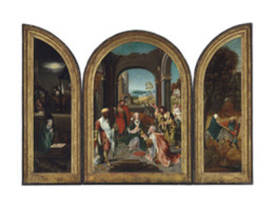 Attributed to the Master of the Von Groote Adoration, 'A triptych: The central panel: The Adoration of the Magi; The wings: The Nativity at Night, with the Annunciation to the Shepherds; and The Flight into Egypt'
