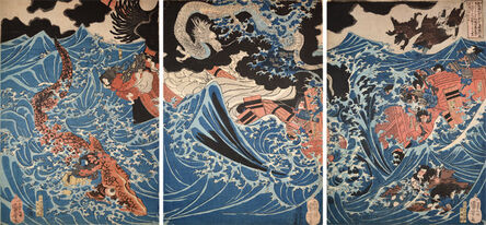 Utagawa Kuniyoshi, 'Tametomo Encounters the Storm at Minamata in Higo Province', ca. 1836