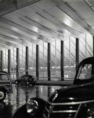Herbert List, 'ITALY. Rome. Termini station. There are still a few cars left in front of the main entrance, past midnight.', 1950