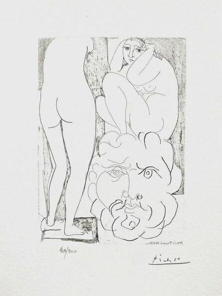 Pablo Picasso, 'Crouching Model Nude & Sculptured Head', 1990