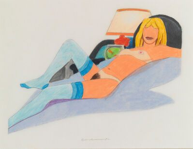 Tom Wesselmann, 'Study for Stockinged Nude with Fish Bowl (Purple Blanket, Black Pillow)', 1982