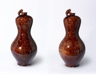 Jeffry Mitchell, 'Hulu Vase Pair with Aubergine Glaze (Peony Decoration and Figurines)', 2021