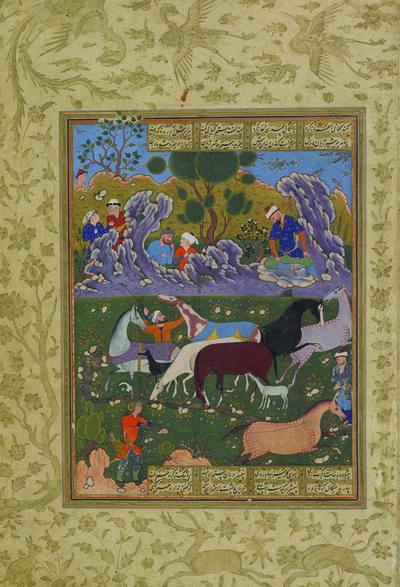 'Rustam Chooses His Horse, Rakhsh, folio 54a from the Peck Shahnama', 1589-1590