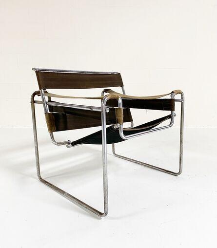 "Marcel Breuer, 'Early Canvas Model B3 ""Wassily"" Chair, Green Eisengarn Canvas', 1927"