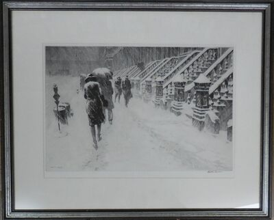 """Martin Lewis, ' """"Stoops in Snow""""', 1930"""
