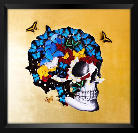 SN, 'Butterfly 24K Golden Skull Profile Right ', 2018