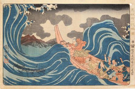 Utagawa Kuniyoshi, 'Nichiren Casting an Invocation on the Waves in Sado', ca. 1835